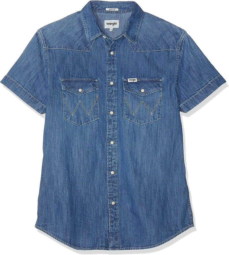 Wrangler SS Western Shirt W5A10O6Z5 Camisa Vaquera, Azul (Mid Used 6z5), Large para Hombre: Amazon.es: Ropa y accesorios