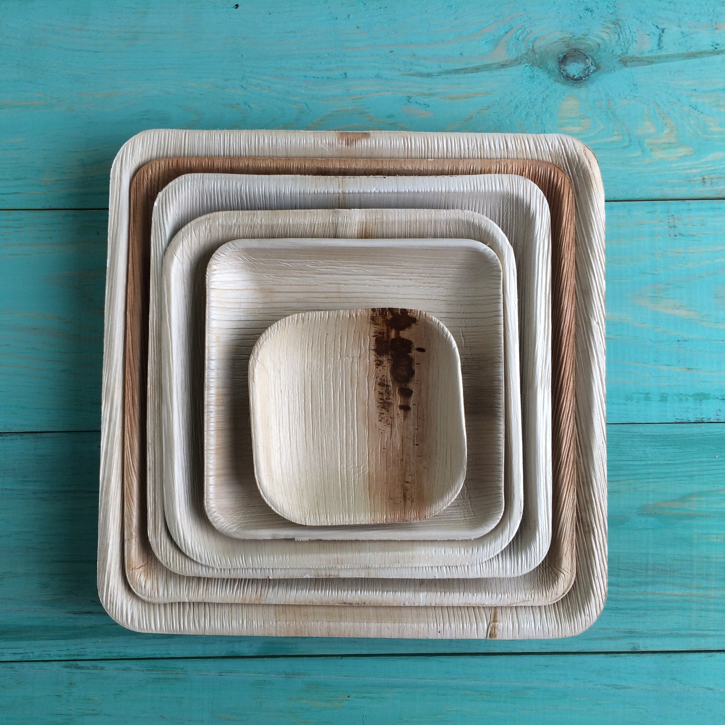Disposable Plates Made of Palm Leaf: Heavy Duty & Eco - Better Than Wood & Bamboo- Square Shape (6'' Square Plate - 25 Pcs, Peach to tan) by Adaaya (Image #9)