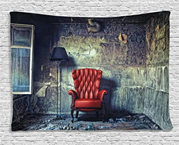 Ambesonne Antique Decor Tapestry, Old Armchair In Grunge Retro Interior  Damaged Messy Abandoned House Old