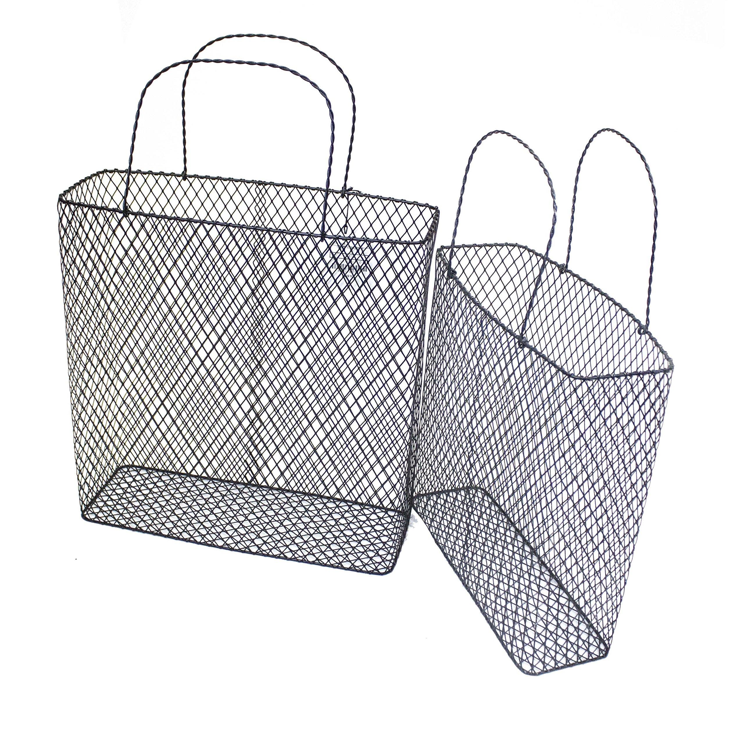 Sagebrook Home 11679 Handled Metal Baskets Metal, 14.5 x 5 x 20 Inches (Set of 2)