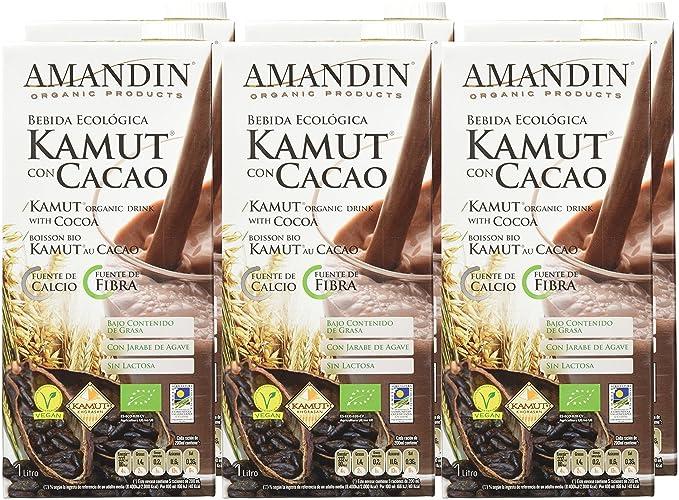 Amandin Bebida de Kamut con Cacao - Paquete de 6 x 1000 ml - Total: 6000 ml: Amazon.es: Alimentación y bebidas