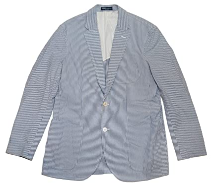 a3284ac0d1 Polo Ralph Lauren Mens Blazer Sport Coat Italy Blue White Seersucker ...