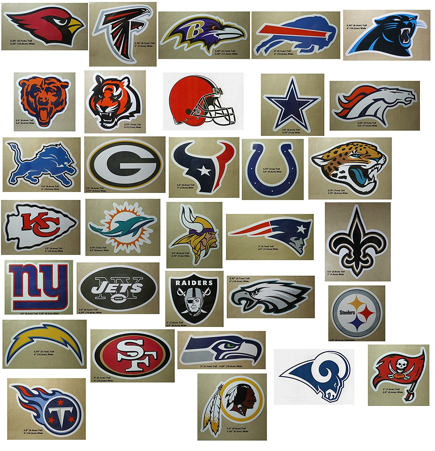 Amazon com nfl team logo stickers set of 50 football stickers all 32 team logos and more 4 25 x 2 75 size sports outdoors