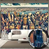 Wallpaper New York City Skyline – wall picture decoration sundown Manhattan America USA décor Big Apple NYC I paperhanging Wallpaper poster wall decor by GREAT ART 132.3x93.7 Inch/336x238 cm