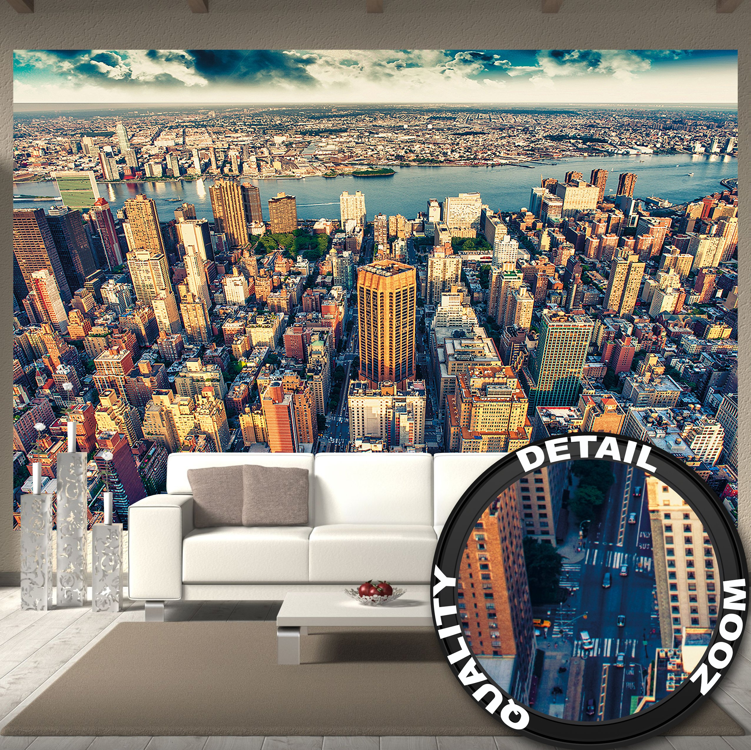 Wallpaper New York City Skyline – wall picture decoration sundown Manhattan America USA décor Big Apple NYC I paperhanging Wallpaper poster wall decor by GREAT ART 132.3x93.7 Inch/336x238 cm by GREAT ART