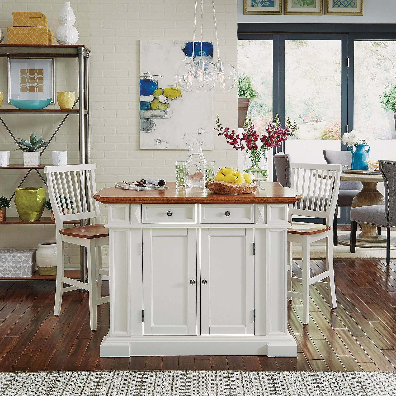 Amazon.com: Home Styles 5002-948 Kitchen Island and Stools, White ...