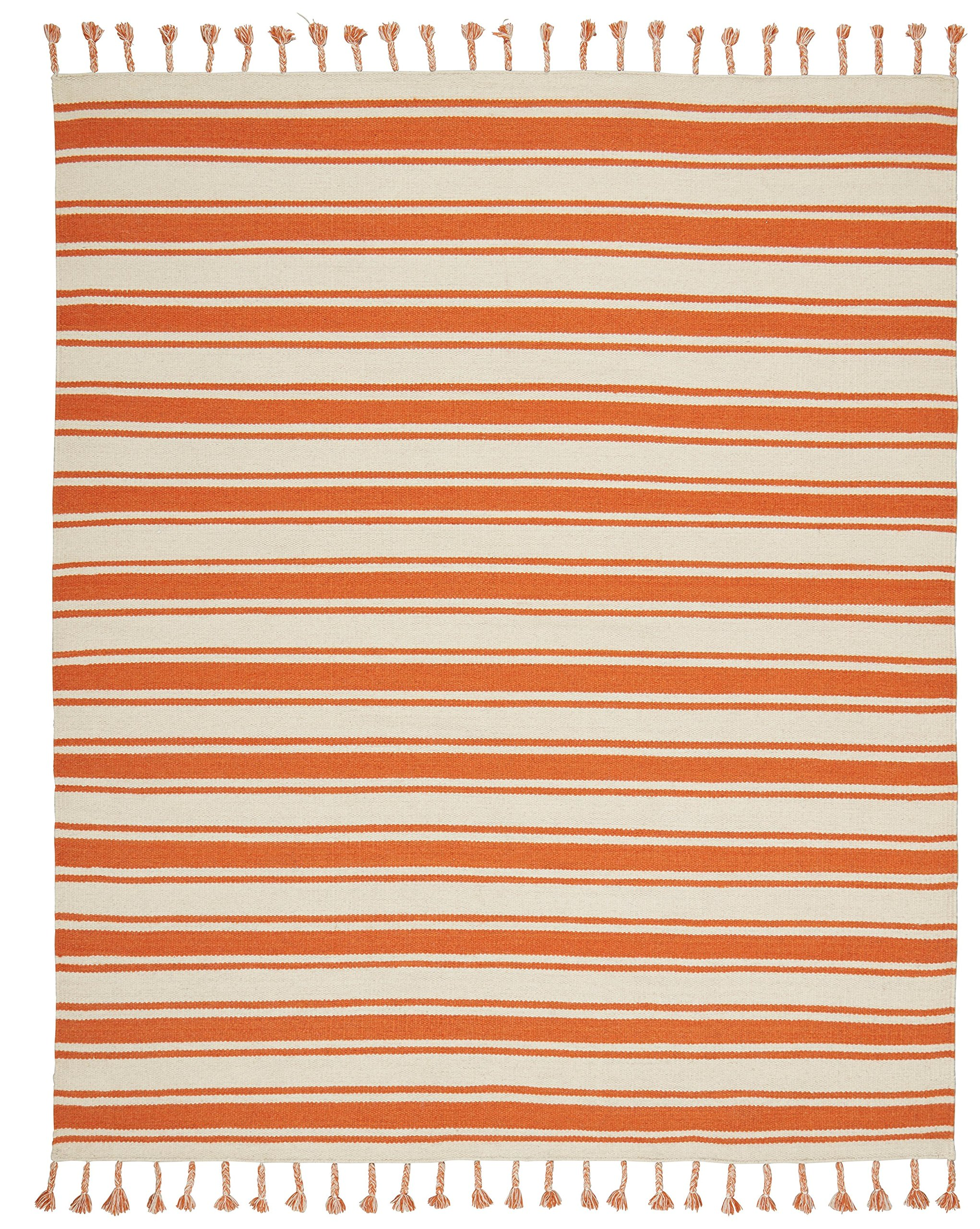 Stone & Beam Los Altos Striped Dhurrie Area Rug, 5' x 7'6, Orange and Ivory by Stone & Beam