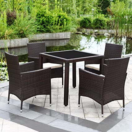 Patio Furniture Accessories Backyard Washable Cushions Suncrown Outdoor Furniture All Weather Square Wicker Dining Table And Chairs Poolside Tempered Glass Tabletop Modern Design Garden Patio Porch 5 Piece Set Patio Lawn Garden