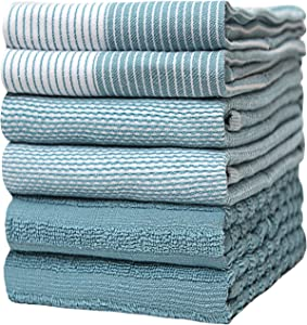 """Premium Kitchen Towels (20""""x 28"""", 6 Pack) – Large Cotton Kitchen Hand Towels – Flat & Terry Towel – Highly Absorbent Tea Towels Set with Hanging Loop (Aqua)"""