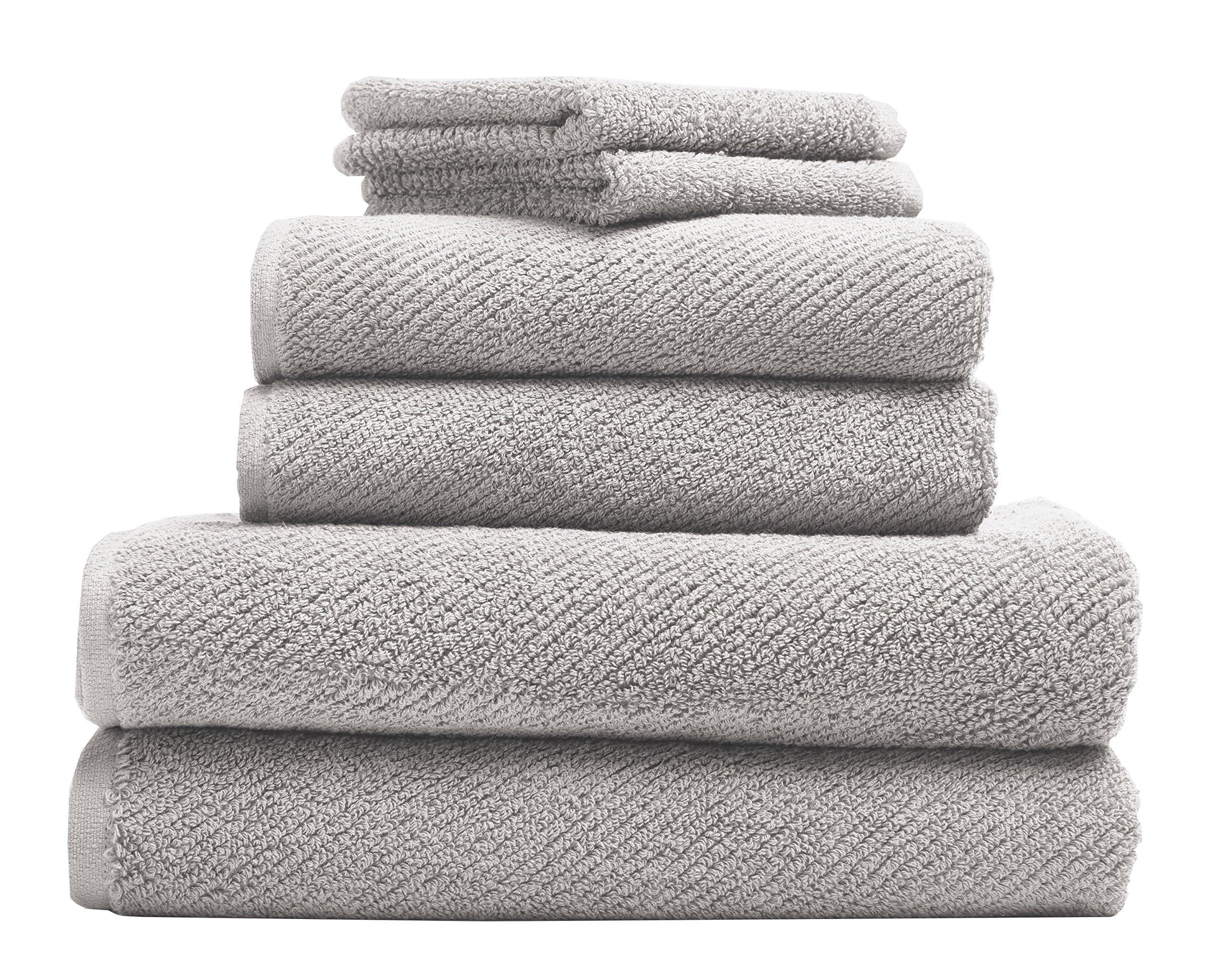 Coyuchi Air Weight Organic 6pc Towel Set, BT, HT, WC, Fog