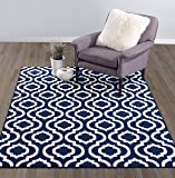 "Diagona Designs Contemporary Moroccan Trellis Design 8 by 10 Area Rug, 94"" L x 114"" W, Navy & Ivory"