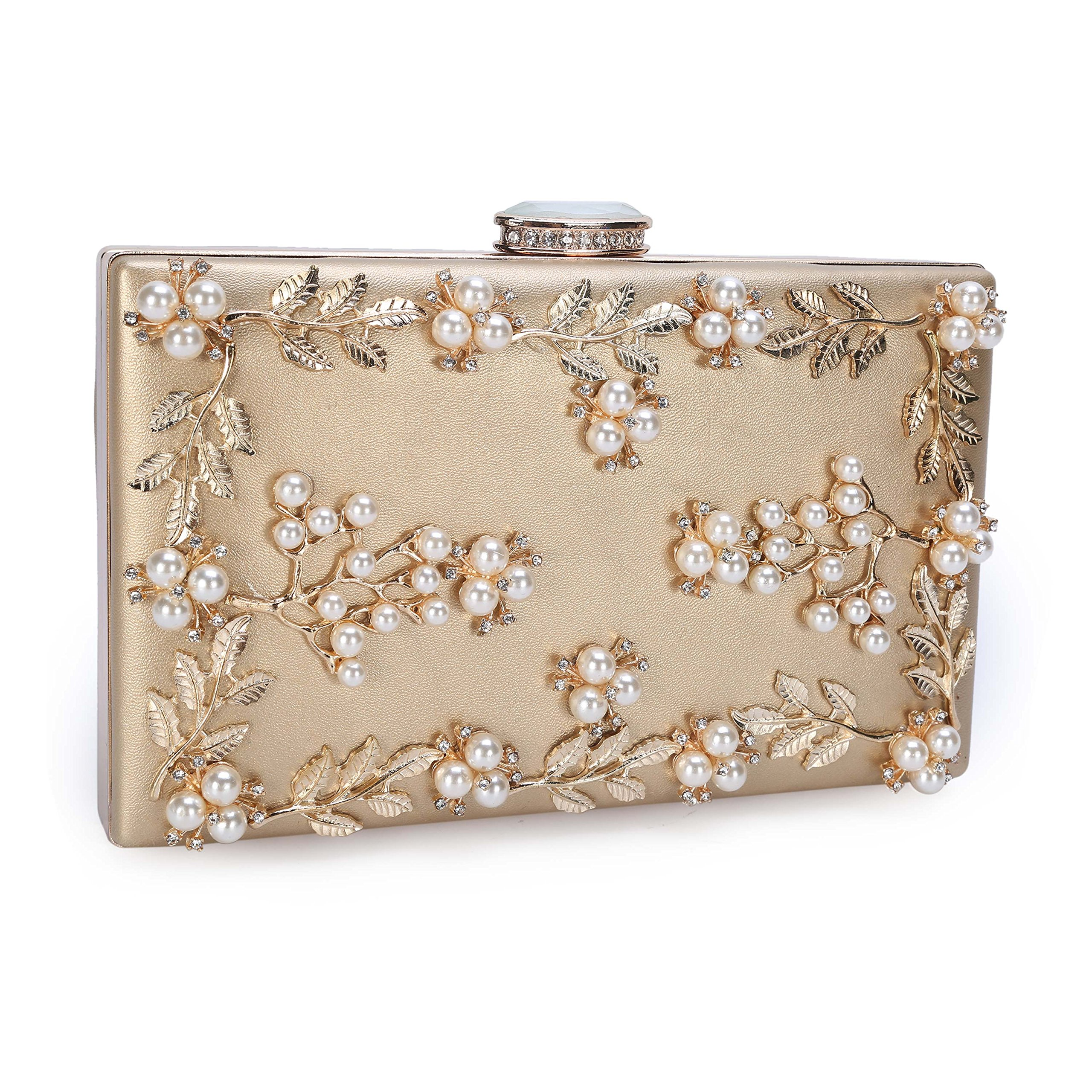 Chichitop Women's Floral Pearl Beaded Evening Handbags Party Clutch Bridal Purse Golden