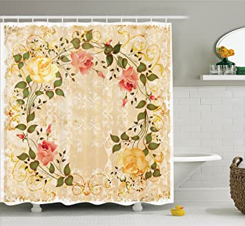 Ambesonne Vintage Decor Shower Curtain Set Oval Shape Floral Crown With Leaves And Roses Over
