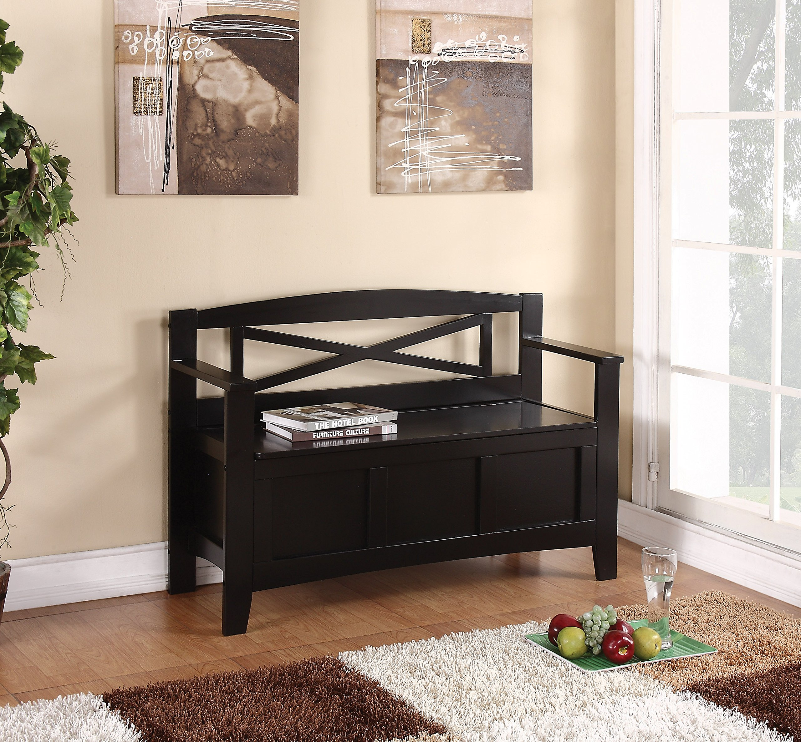 Office Star Metro X-Back Style Wood Entry Way Bench with Storage, Black finish
