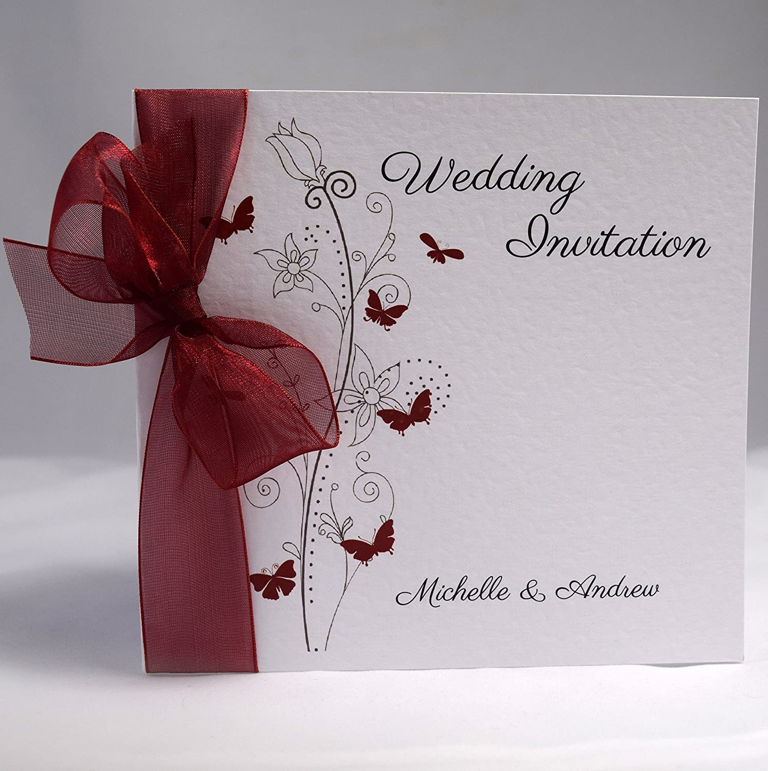 Available in Many Colours Gold Organza Butterfly Wedding Invitations Personalised with Ribbon Packs of 10