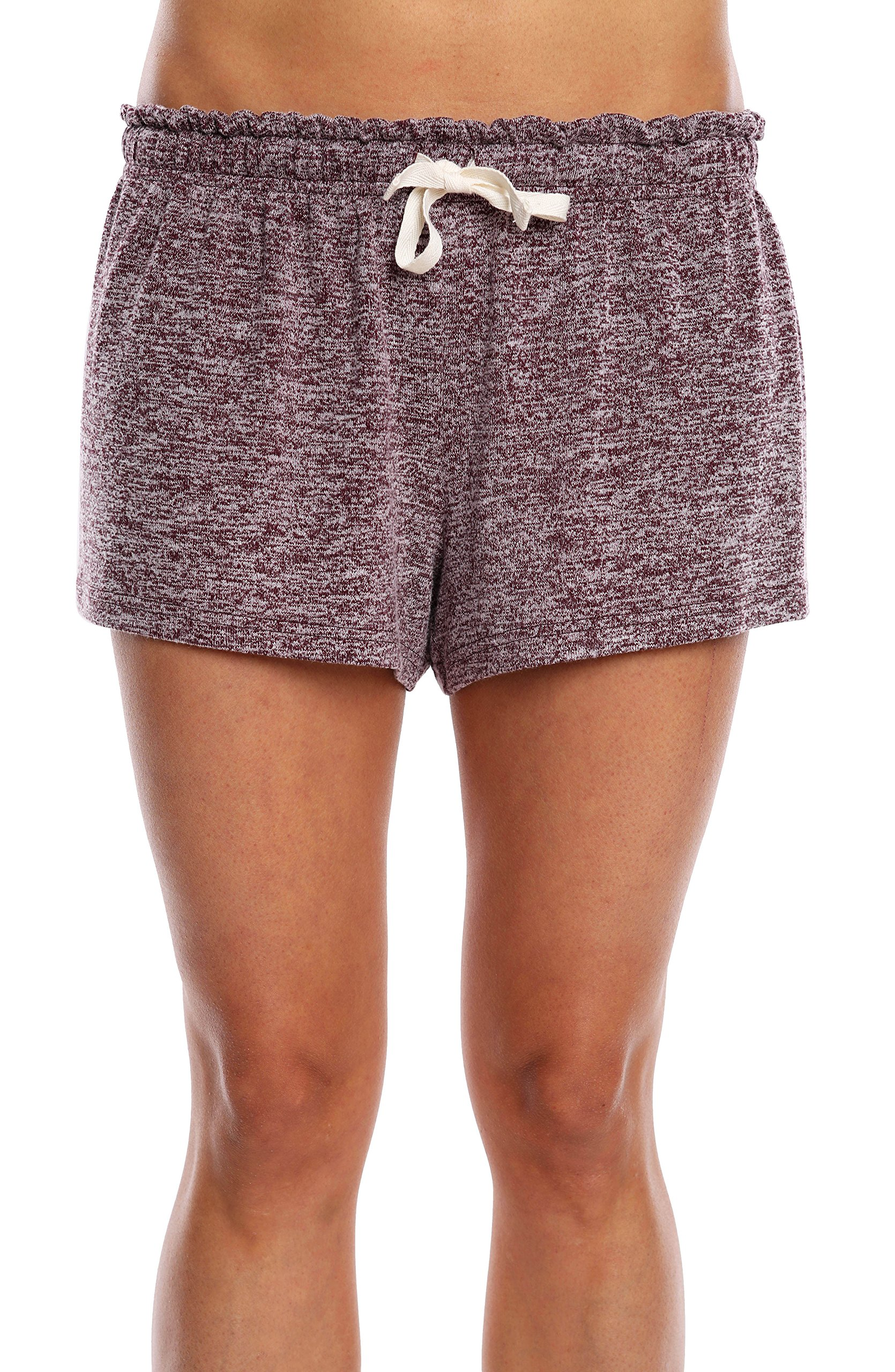 WallFlower Women's Solid Super Soft Hacci Lounge Sleep Short - Heather Burgundy, X-Large