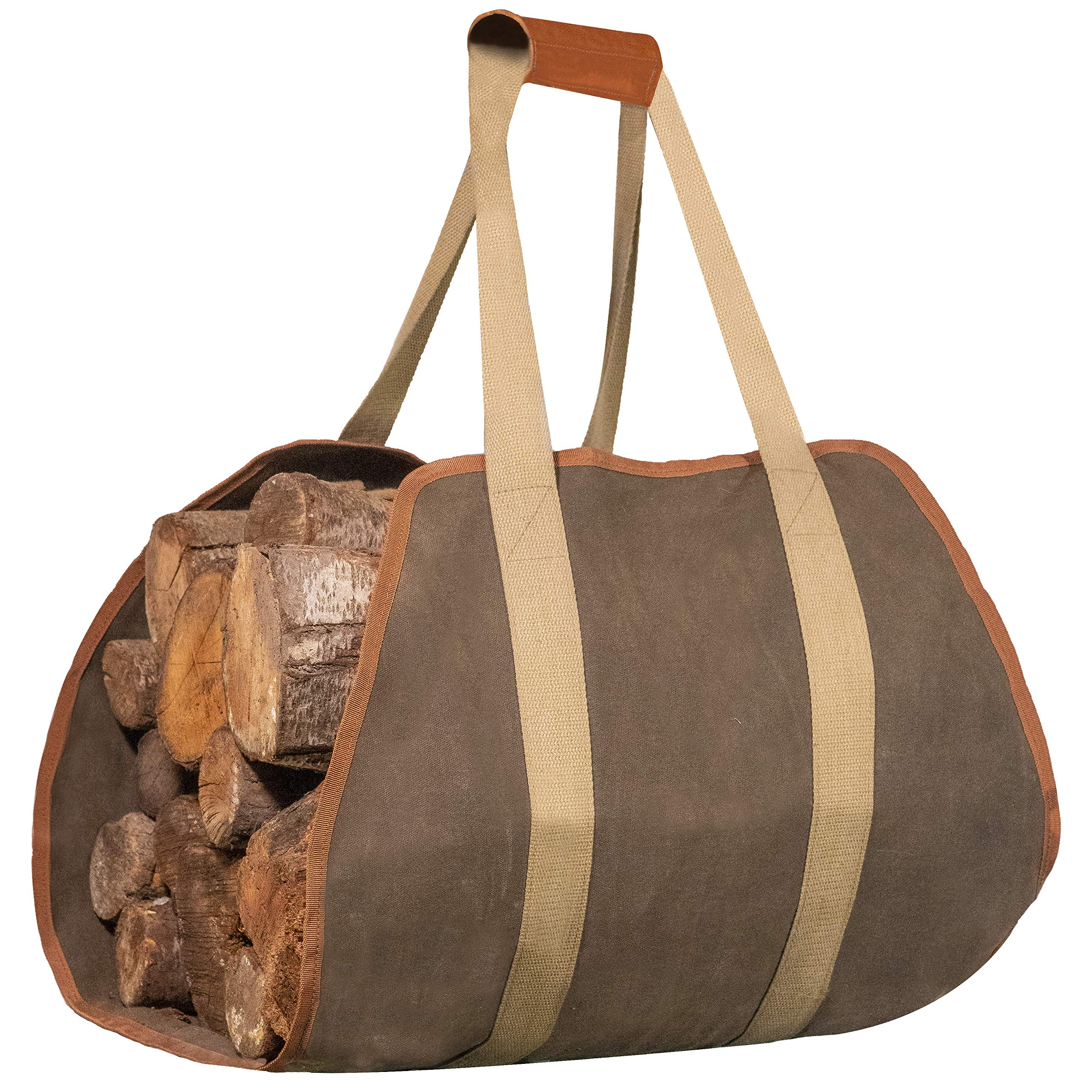 IGGY BLISS Firewood Carrier - Waxed Canvas Tote Bag with Padded Leather Handles - Extra Large (40''x19'') - for Fireplace or Camping or Outdoor Fire Pit or Bonfire by IGGY BLISS