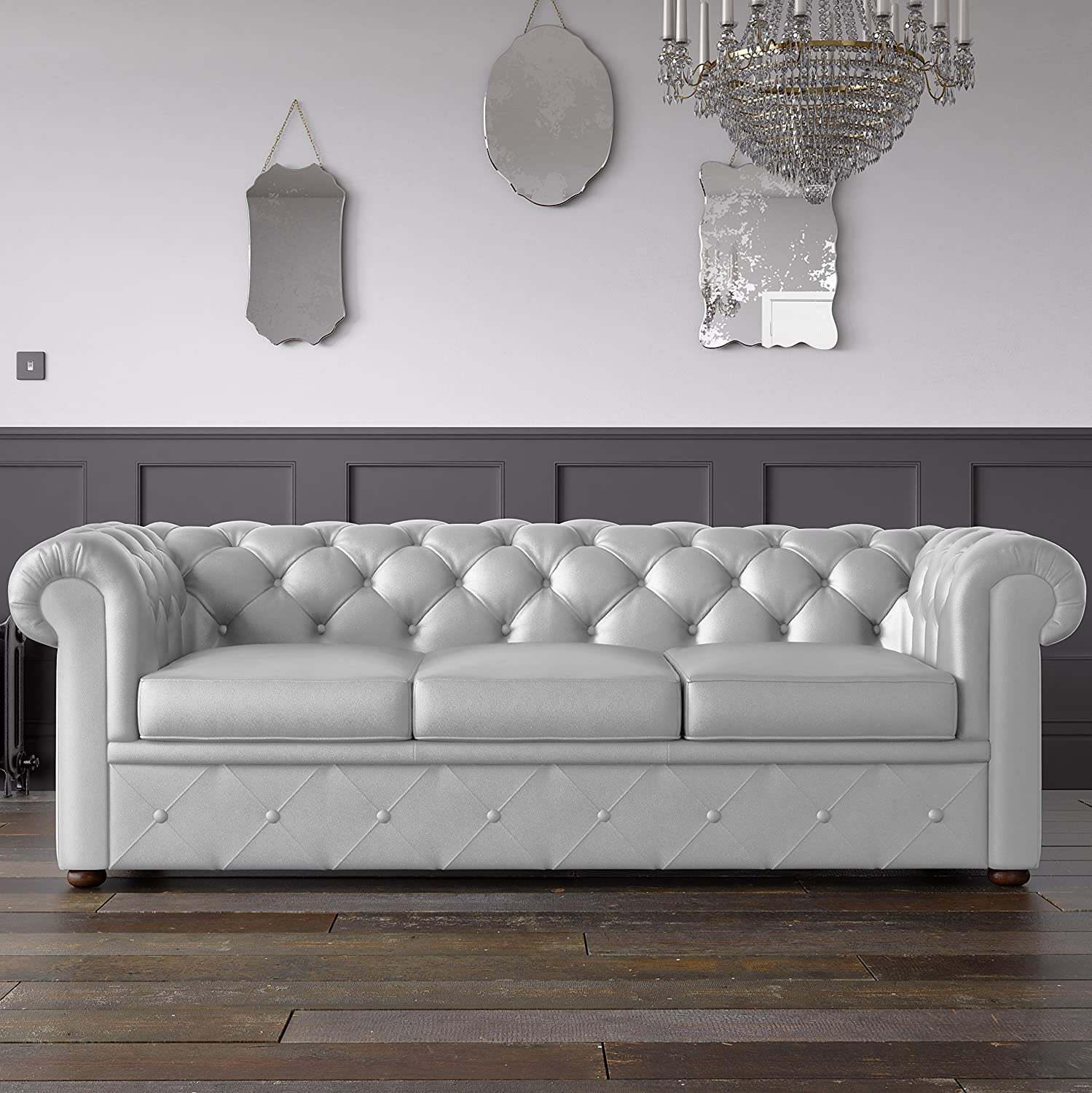Remarkable Chesterfield Faux Leather Sofa White 3 Seater Amazon Co Uk Ncnpc Chair Design For Home Ncnpcorg