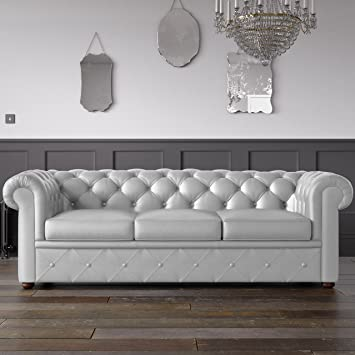 Outstanding Chesterfield Faux Leather Sofa White 3 Seater Amazon Co Uk Pabps2019 Chair Design Images Pabps2019Com