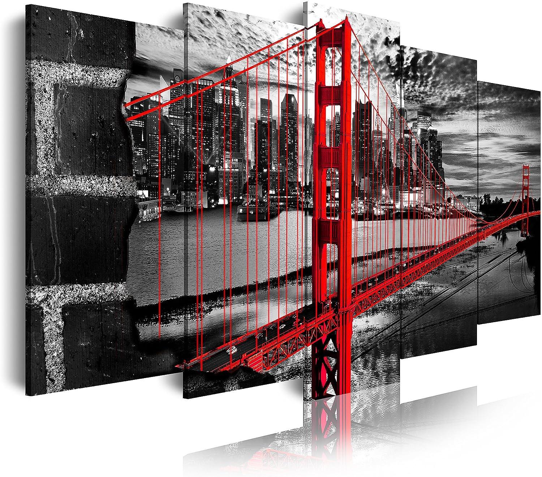 DekoArte - Cuadros Modernos Impresión de Imagen Artística Digitalizada | Lienzo Decorativo Para Tu Salón o Dormitorio | Estilo Ciudades EEUU Golden Gate Blanco Negro Rojo | 5 Piezas 200 x 100 cm XXL