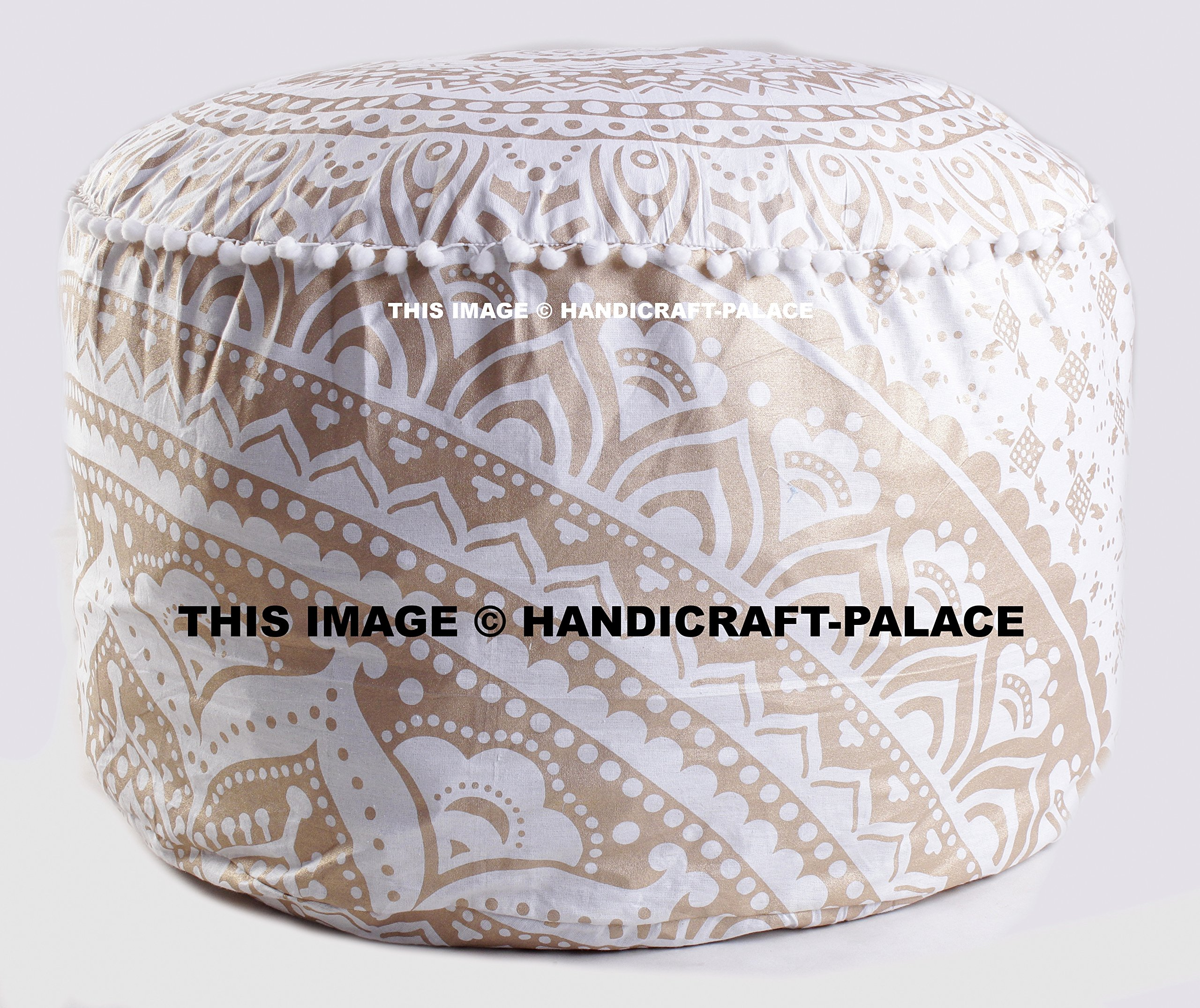 OMBRE MANDALA ROUND FLOOR OTTOMAN POUF GOLD COLORED PILLOW COVER INDIAN DECOR