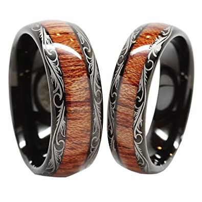 Men Women S Tungsten Carbide Wedding Band Wood Inlay Comfort Fit