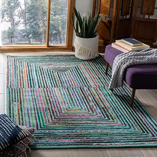 Safavieh Nantucket Collection NAN603A Handmade Abstract Teal Cotton Area Rug 8 x 10
