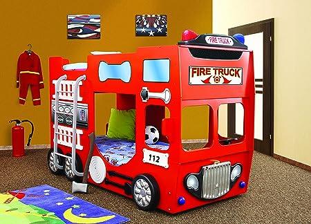 Etagenbett Auto : Kinderzimmerbett etagenbett kinderbett feuerwehr firetruck