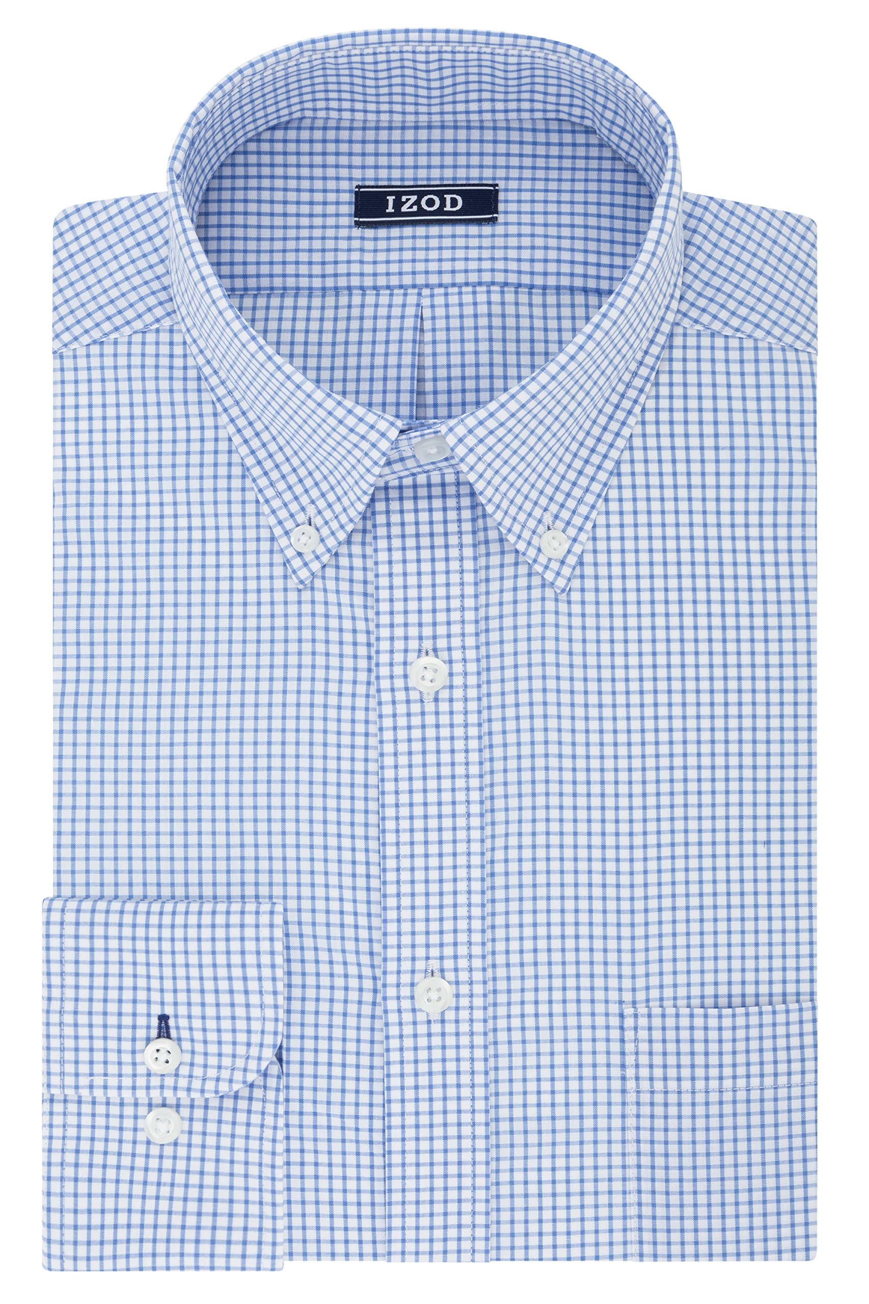 IZOD Men's Big and Tall Dress Shirts Stretch Check Fit, Blue, 18.5'' Neck 35-36'' Sleeve
