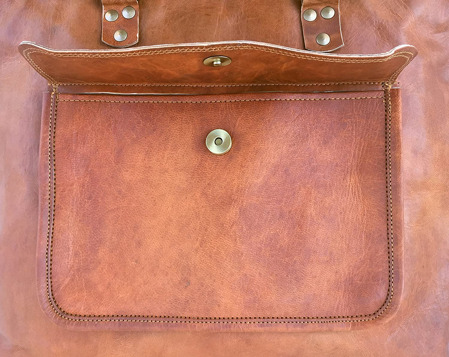 Womens genuine leather top handle tote purse bag 15 inch with zipper