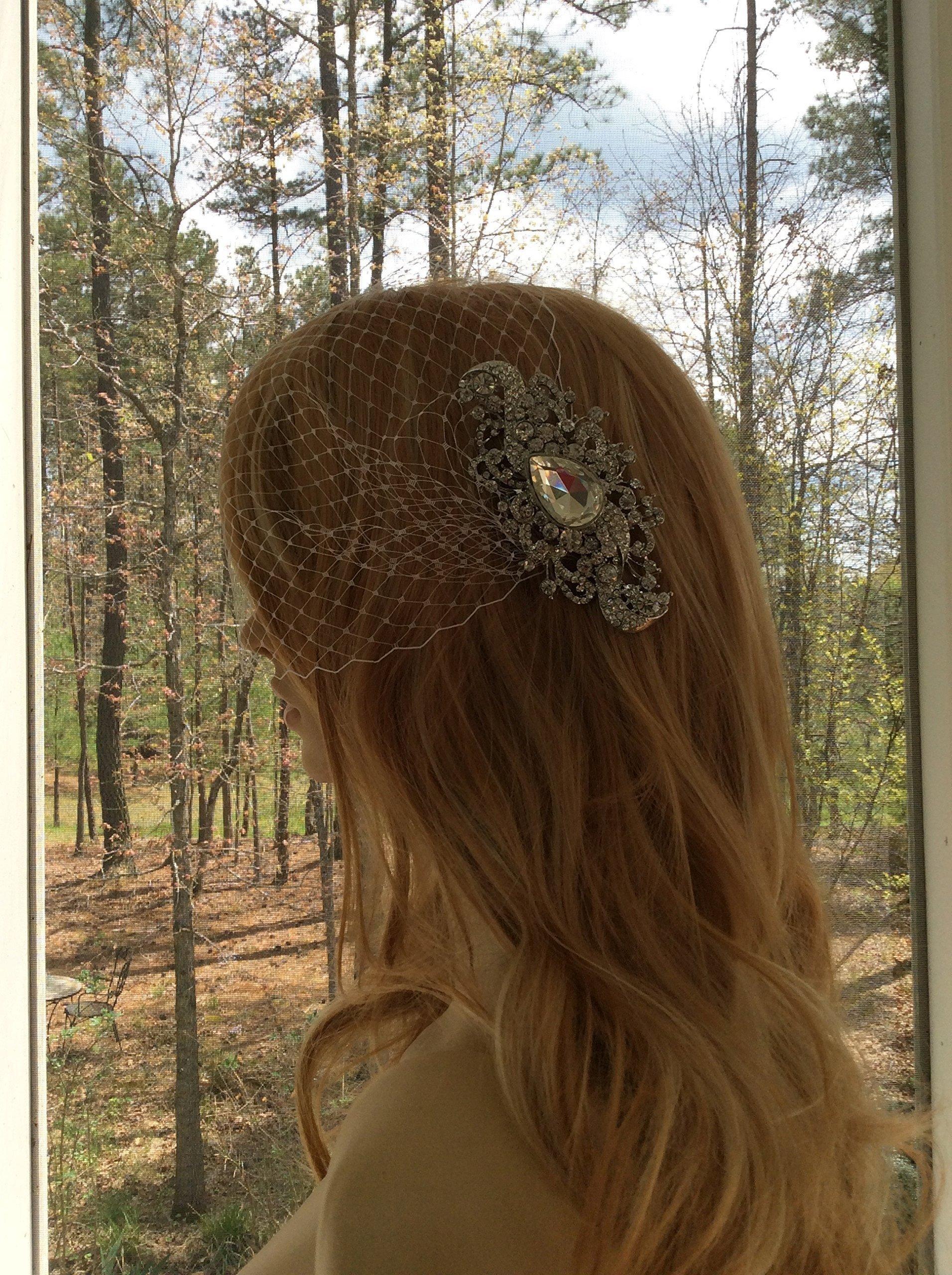 Embellished Bandeau Veil, Wedding Bandeau Veil, Bridal Birdcage Veil