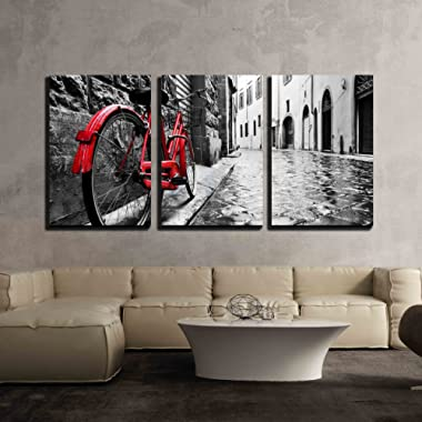 wall26 3 Piece Canvas Wall Art - Retro Vintage Red Bike on Cobblestone Street in the Old Town - Modern Home Decor Stretched and Framed Ready to Hang - 24 x36 x3 Panels