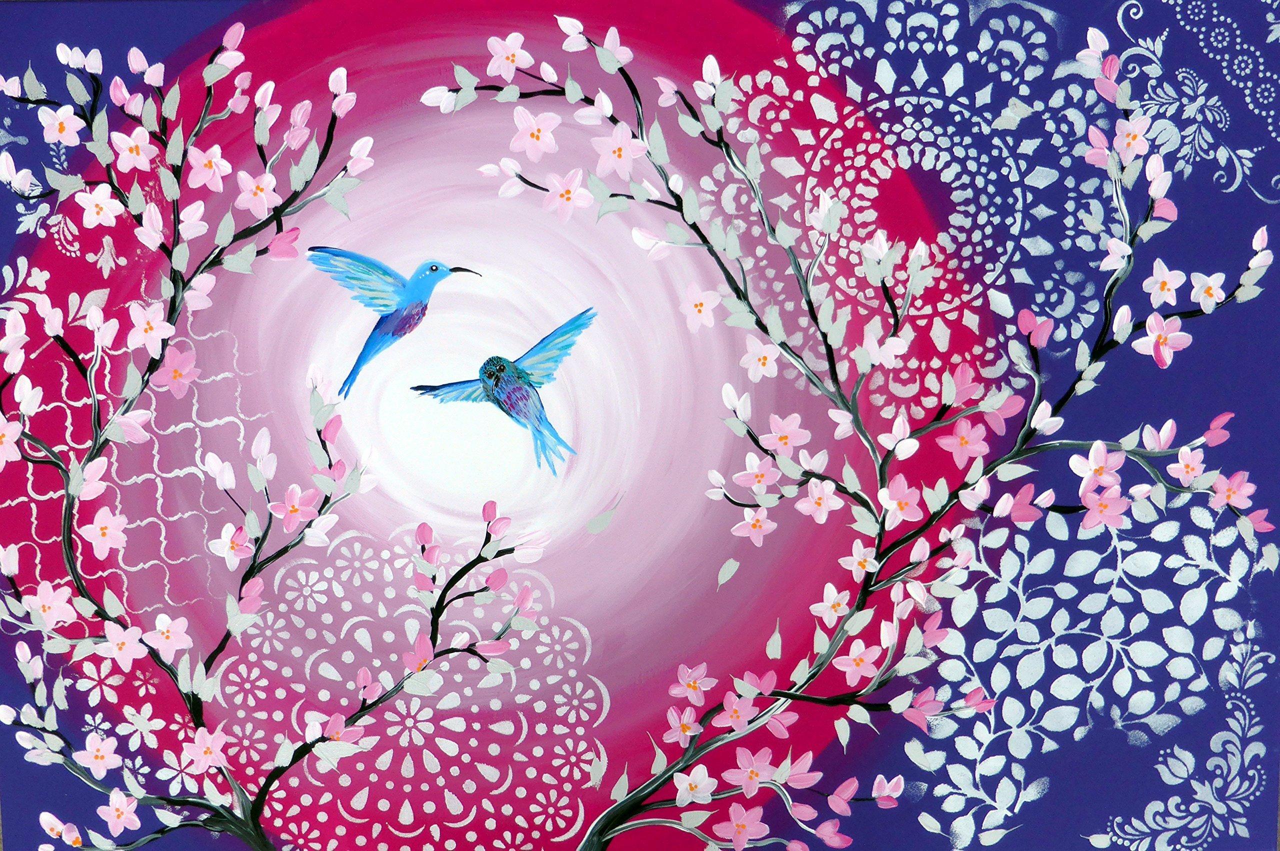 hummingbird painting, romantic gift, unusual wedding gift, wedding gifts, with hummingbirds, hummingbird present, hummingbird art, hummingbird painted, on canvas, hummingbird paintings on, canvas by Sheer Joy