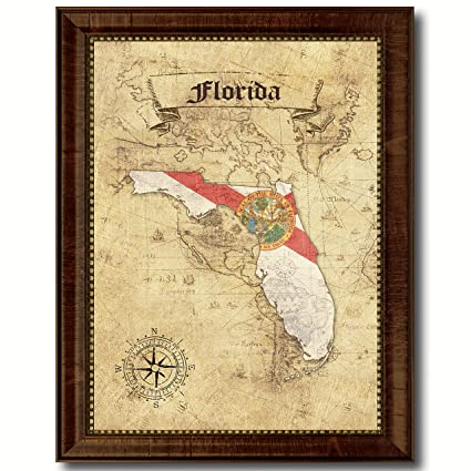 1c64e867e981 Amazon.com  Florida State Vintage Map Flag Canvas Print with Custom Brown  Picture Frame Gifts Home Decor Wall Art Decoration