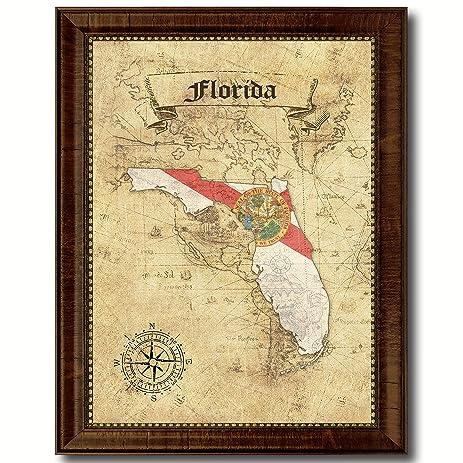 Amazon.com: Florida State Vintage Map Flag Canvas Print with Custom ...