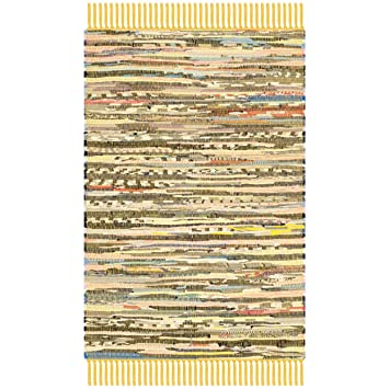 Safavieh Rag Rug Collection RAR121H Hand Woven Yellow And Multi Cotton Area  Rug (2u0027