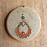 V Living Linen Hoop art, Indian Jewellery, Machine Embroidered with Colours for Indian Wall Art (10-inch)