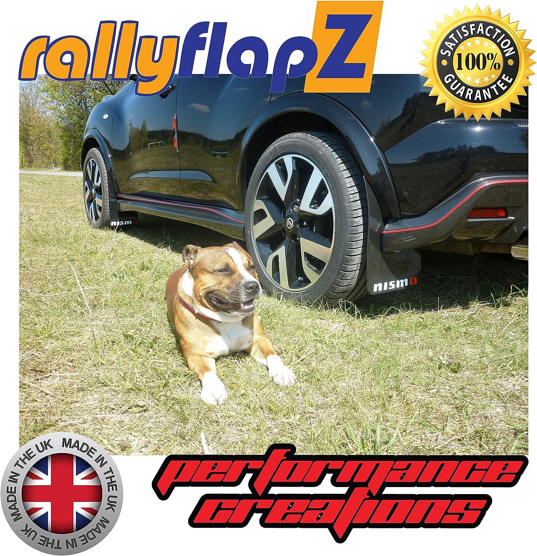 4mm PVC rallyflapz Schmutzf/änger Satz mit 4 schwarzen Logo Weiss//Rot