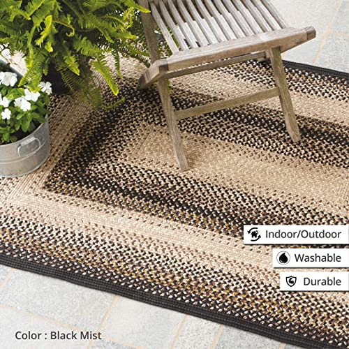 Homespice Rectangular Outdoor Braided Rugs, 5-Feet by 8-Feet, Black Mist