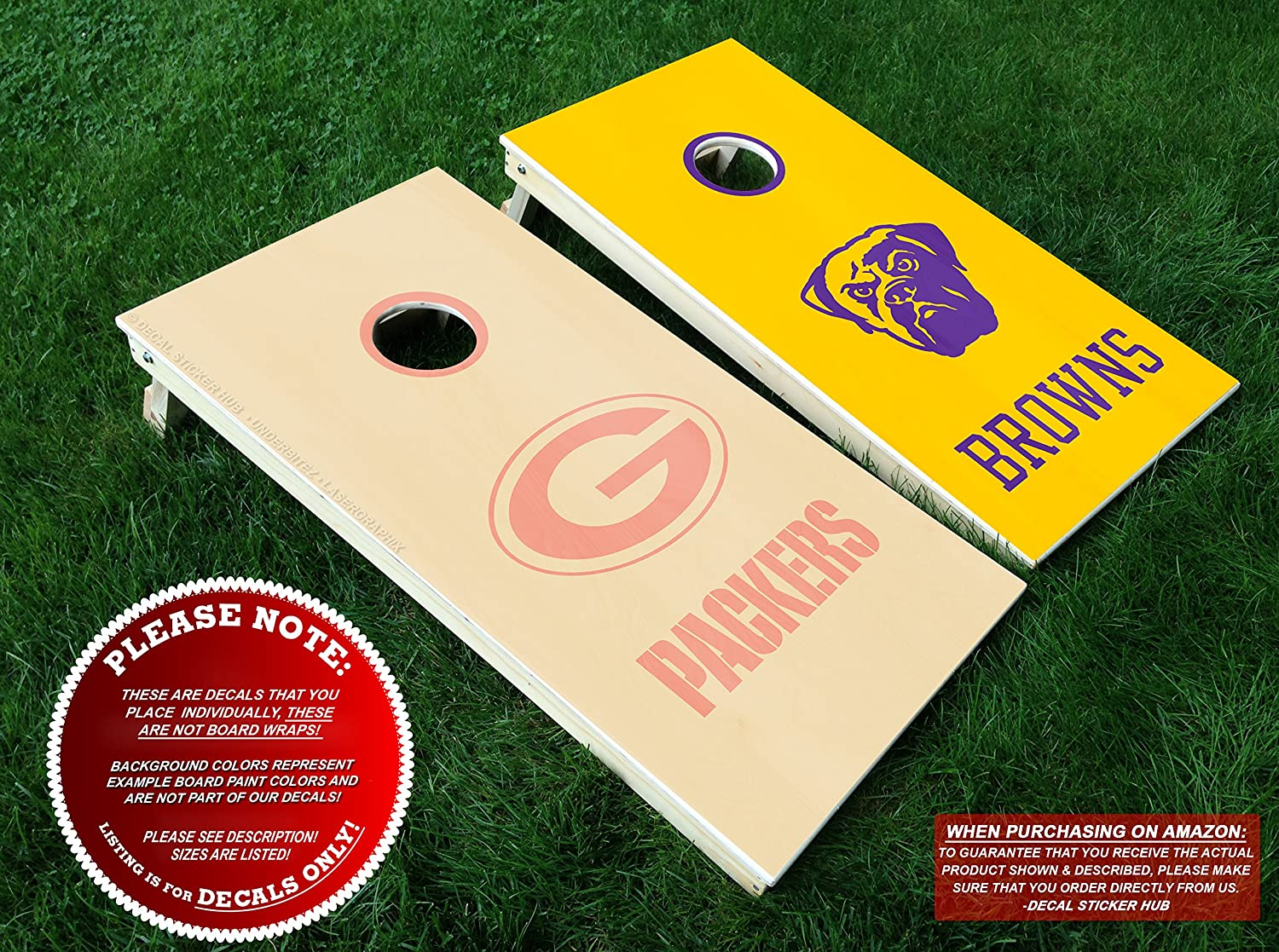 Amazon.com: Green Bay Packers vs Cleveland Browns Cornhole Decals ...