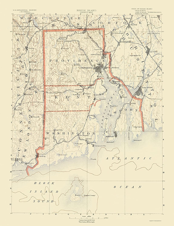 Topographic Map Rhode Island.Amazon Com Topographical Map Rhode Island Counties Usgs 1891