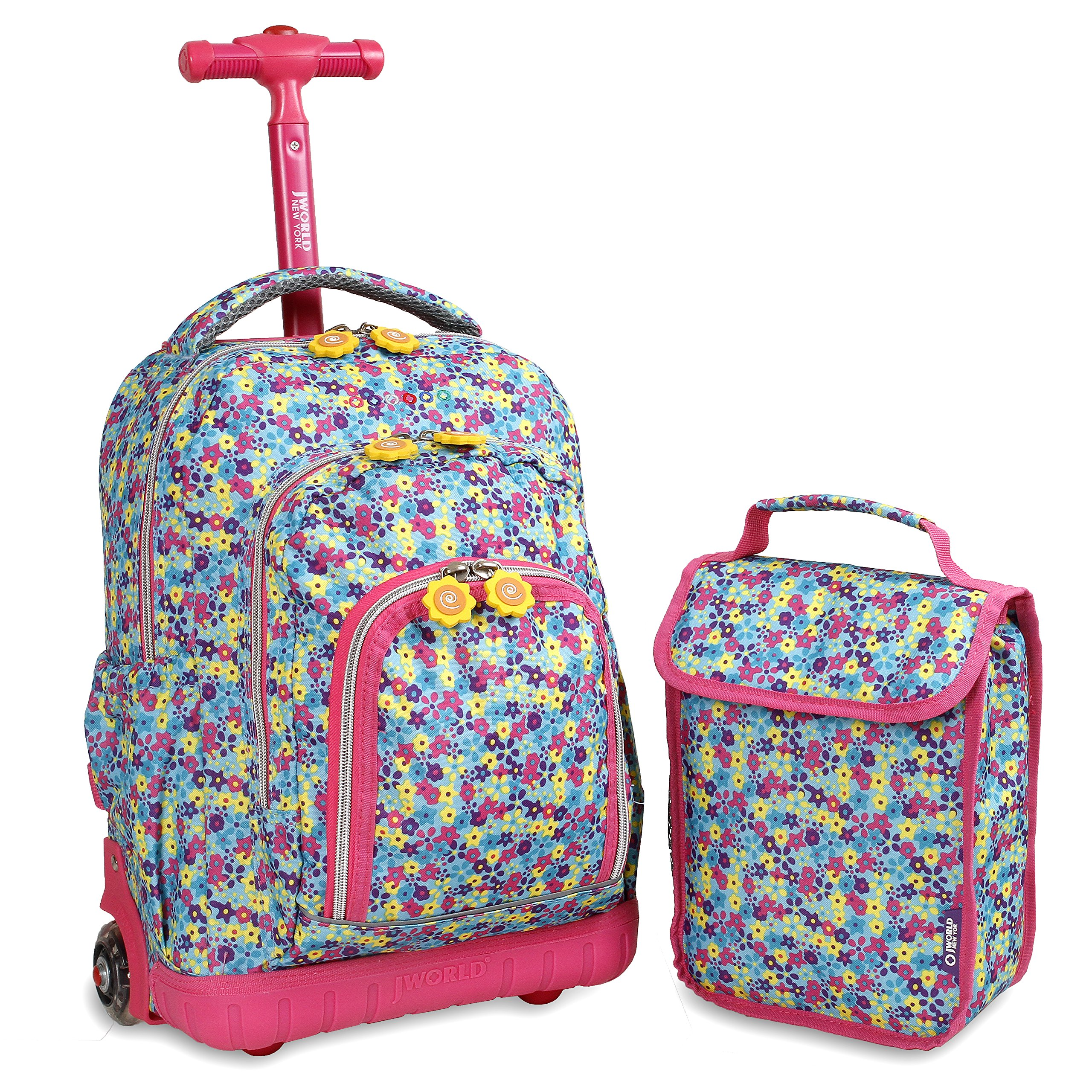 J World New York Boys' Lollipop Rolling Lunch Bag Kid's Backpack with Self-Magnetic Sparkling Wheel and'FREE'Lunch, Floret