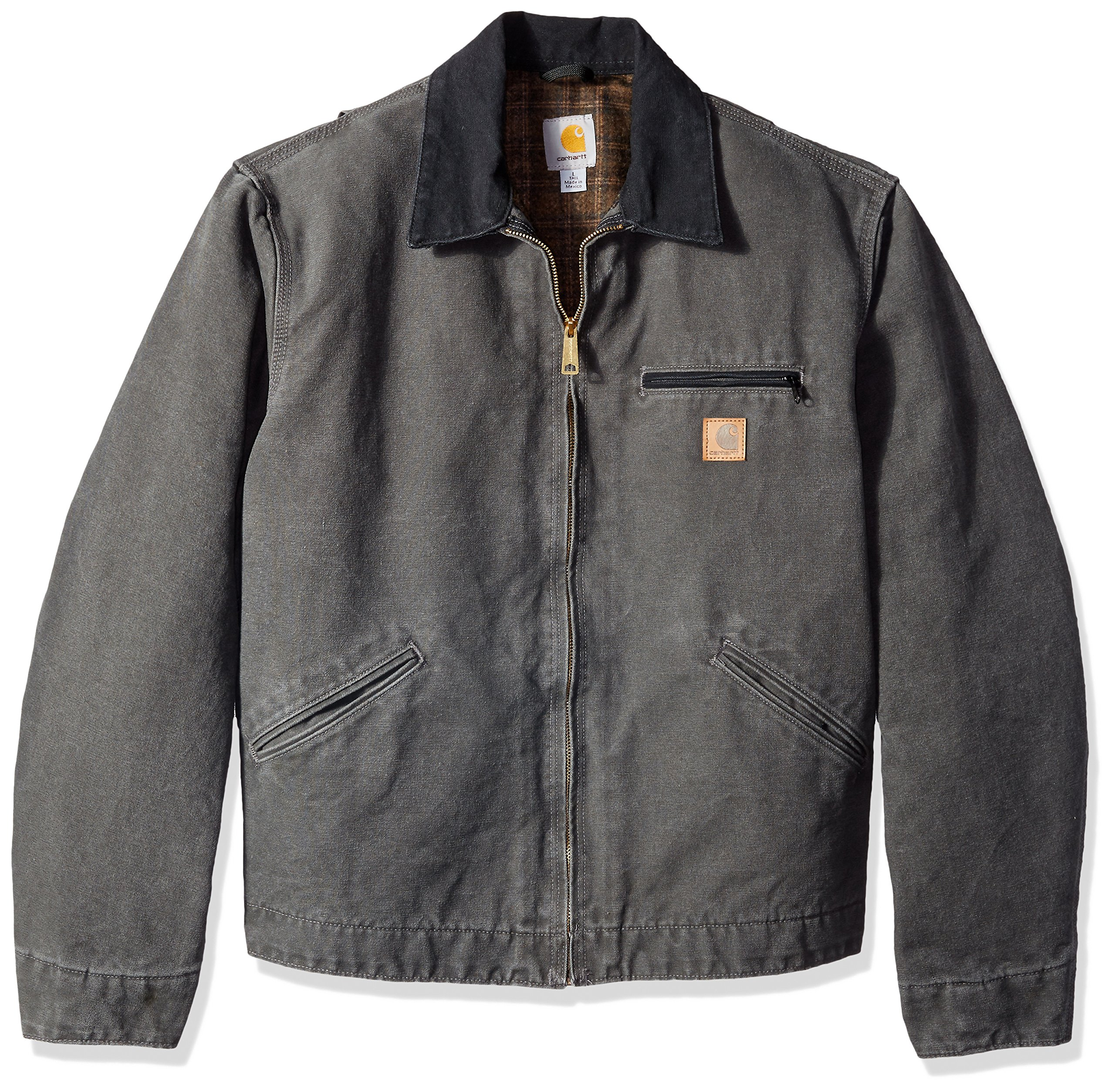 Carhartt Men's Big & Tall Blanket Lined Sandstone Detroit Jacket J97,Gravel,XXXX-Large