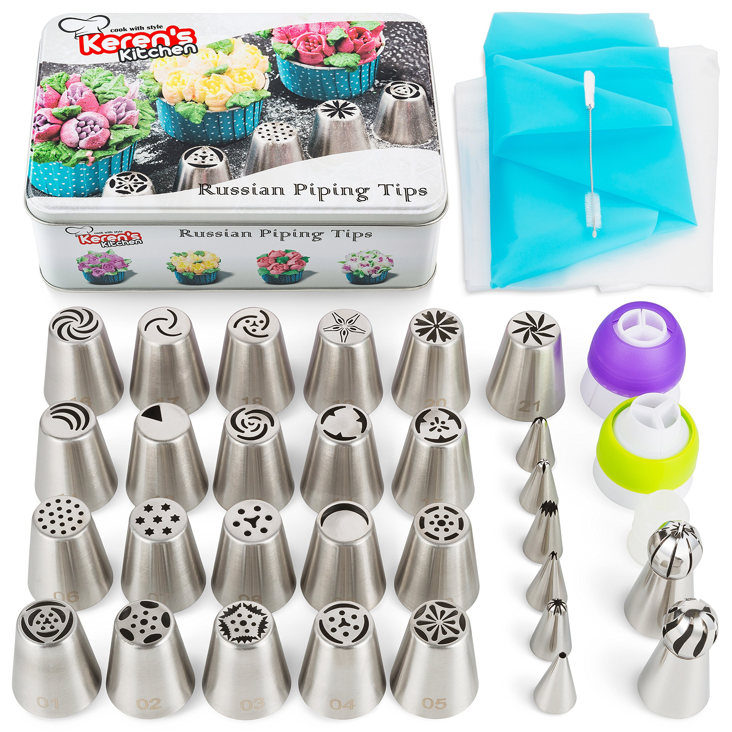 Russian Piping Tips Set 56 pcs Russian Flower Tips Cake. Include 21 Russian Cake Tips, Russian Ball Frosting Tips, Icing Tips Nozzles, Couplers. Best Cake Decorating Tips
