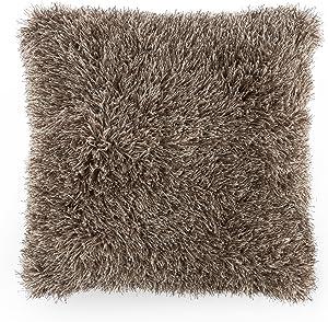 Lavish Home Oversized Floor or Throw Pillow Square Luxury Plush– Shag Faux Fur Glam Decor Cushion for Bedroom Living Room or Dorm (Mocha)
