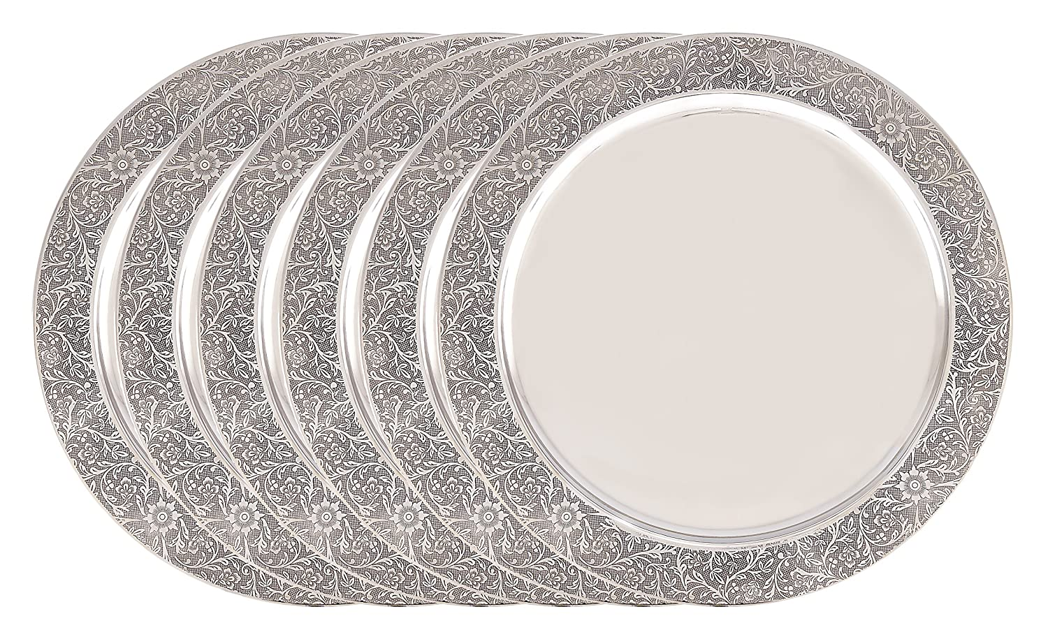 Etched Rim Shiny Stainless Steel Charger Plate Set of 6