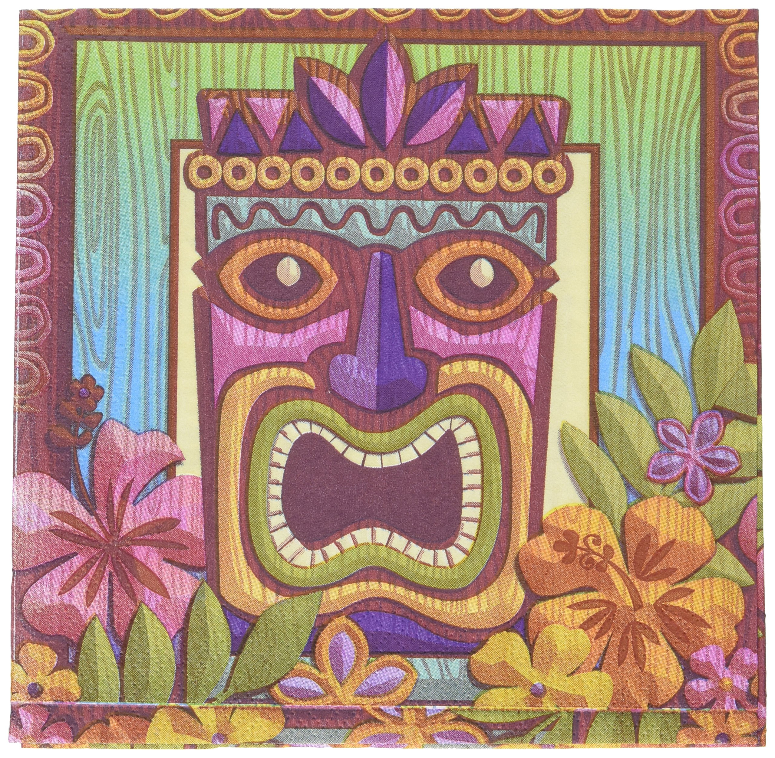 Amscan Sun-Sational Summer Luau Party Tropical Tiki Luncheon Napkins Tableware, 125 Pieces, Made from Paper