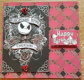 Handmade nightmare before christmas inspired birthday card red handmade nightmare before christmas inspired birthday card red roses bookmarktalkfo Images