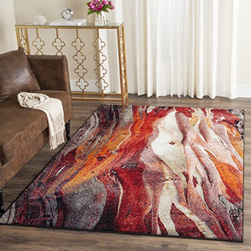 Safavieh Glacier Collection GLA126A Abstract Red and Multi Area Rug 8 x 10