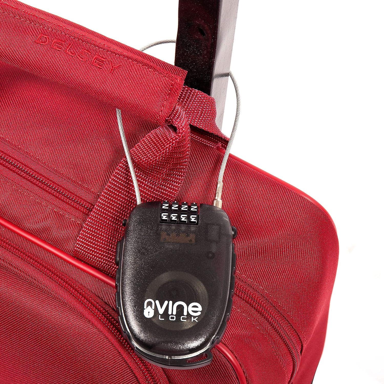 Vine Lock bicicletas y maletas Candado retr/áctil de combinaci/ón de 4 d/ígitos para viajes azul